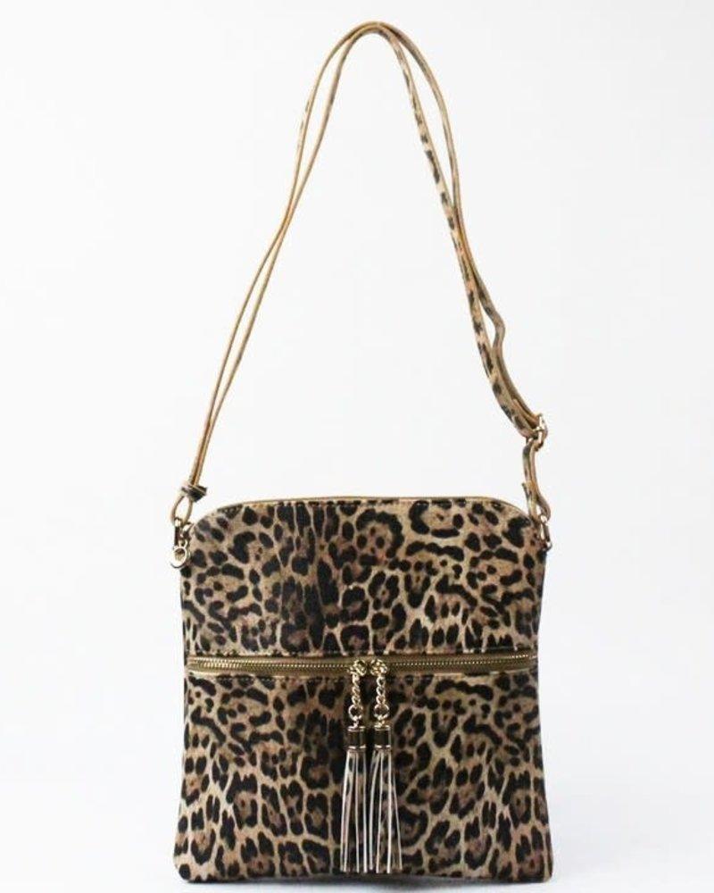 Leopard Faux Leather Cross Body Bag