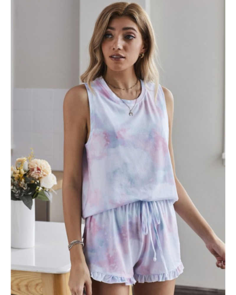 Shiying Fashion Tie Dye Tank & Ruffled Trim Shorts Set