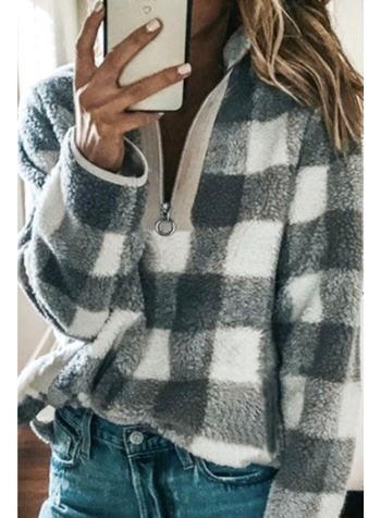 Mazik Plaid Fleece Quarter Zip Pullover