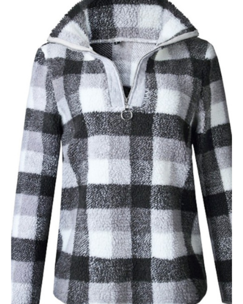 Mazik Plaid Fleece Quarter Zip Pullover