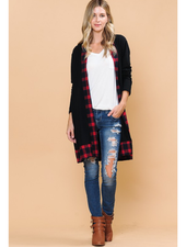 Magic Fit Midi Cardigan w/Plaid Detail