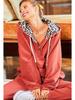 Main Strip Fleece Lined Hoodie w/Leopard Contrast Hood