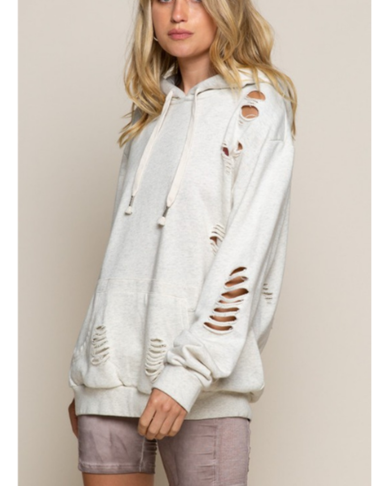 Stone Washed Pullover with Kangaroo Pocket