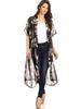Desheng Sheer Floral Print Long Kimono