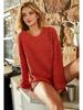 Macaron Oversized V-Neck Popcorn Sweater w/Split Hem