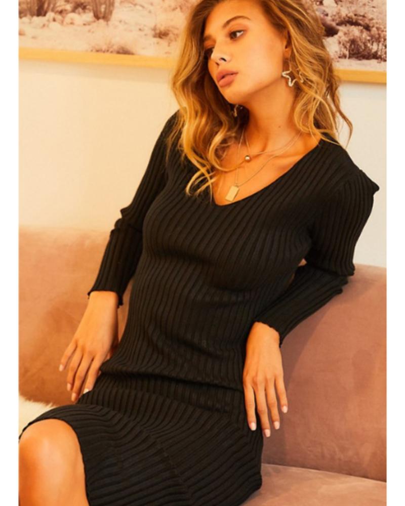 Main Strip V-Neck Long Sleeve Ribbed Knit Bodycon Dress