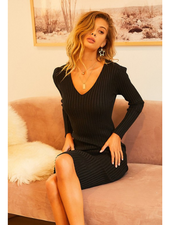 Main Strip V-Neck Long Sleeve Ribbed Knit Bodycon Dress