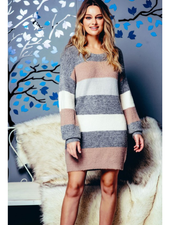 Net.153 Wide Striped Sweater Dress w/Puff Sleeves