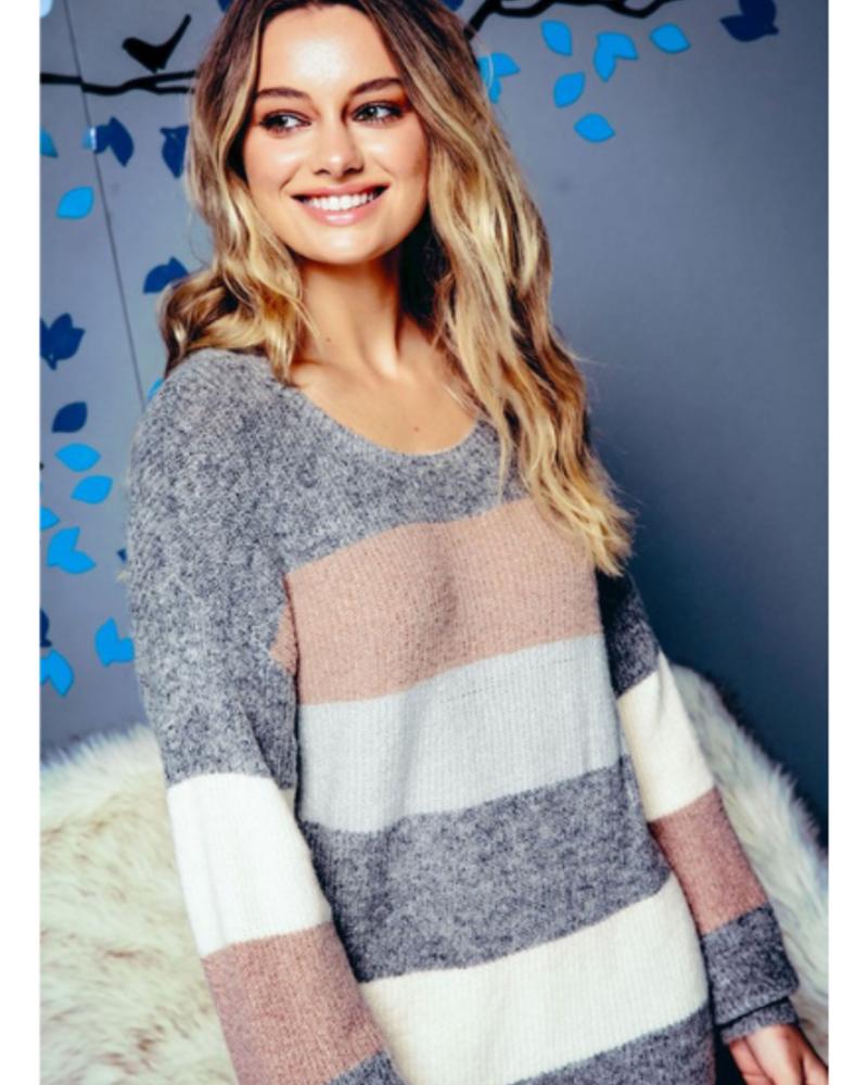 Net.153 Wide Striped Sweater Dress w/Puff Sleeves