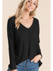 Bibi Thermal Waffle V-Neck Long Sleeve Top