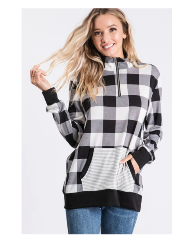 Bibi Quarter Zip Check Plaid LS Top w/Striped Pocket