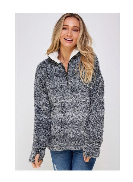 Lychee Blanco Quarter Zip Sherpa Pullover w/Thumbholes