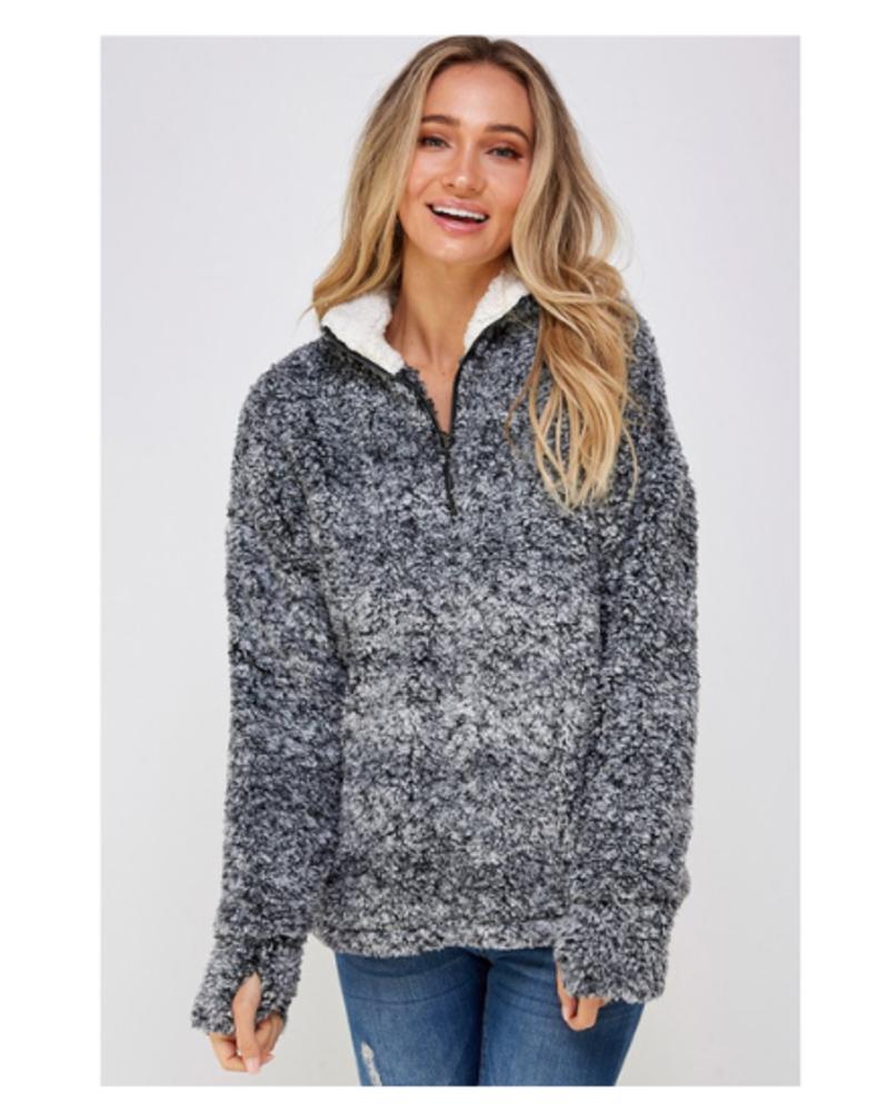 Lychee Blanco Quarter Zip Sherpa Pullover w/Thumbholes