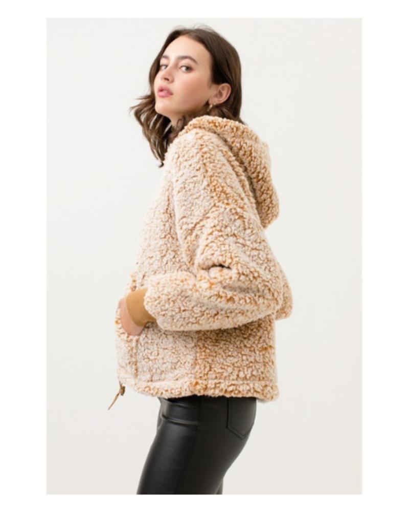 Love Tree Faux Fur Quarter Zip Hoodie w/Front Pocket