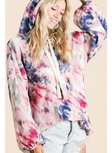 Bibi Tie Dye Waffle Top w/Hood & Long Puff Sleeves