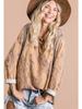BucketList Multi Print Color Block Top w/Dolman Crop Sleeves