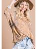 Bucket List Multi Print Color Block Top w/Dolman Crop Sleeves