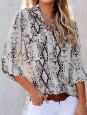 Snake Print Button Down Blouse w/Collar & Pockets