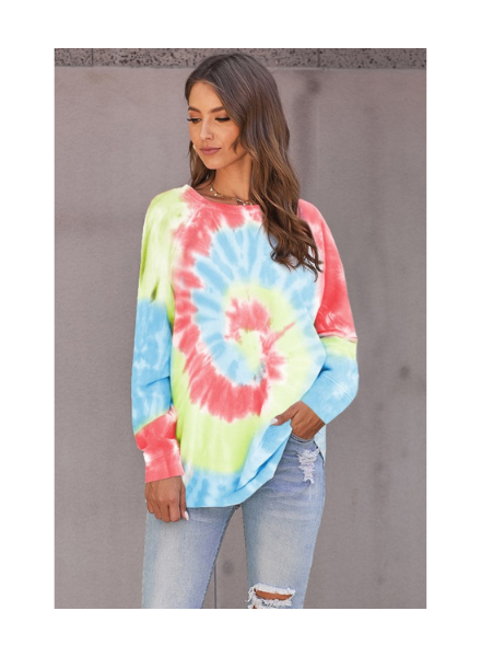 Shewin Oversized Long Sleeve Tie Dye Top