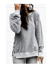Mazik Round Neck Sweatshirt w/Side Buttons