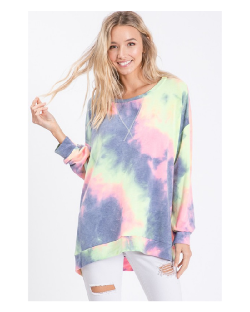 Bibi Tie Dye French Terry LS Top w/Front Stitch Detail