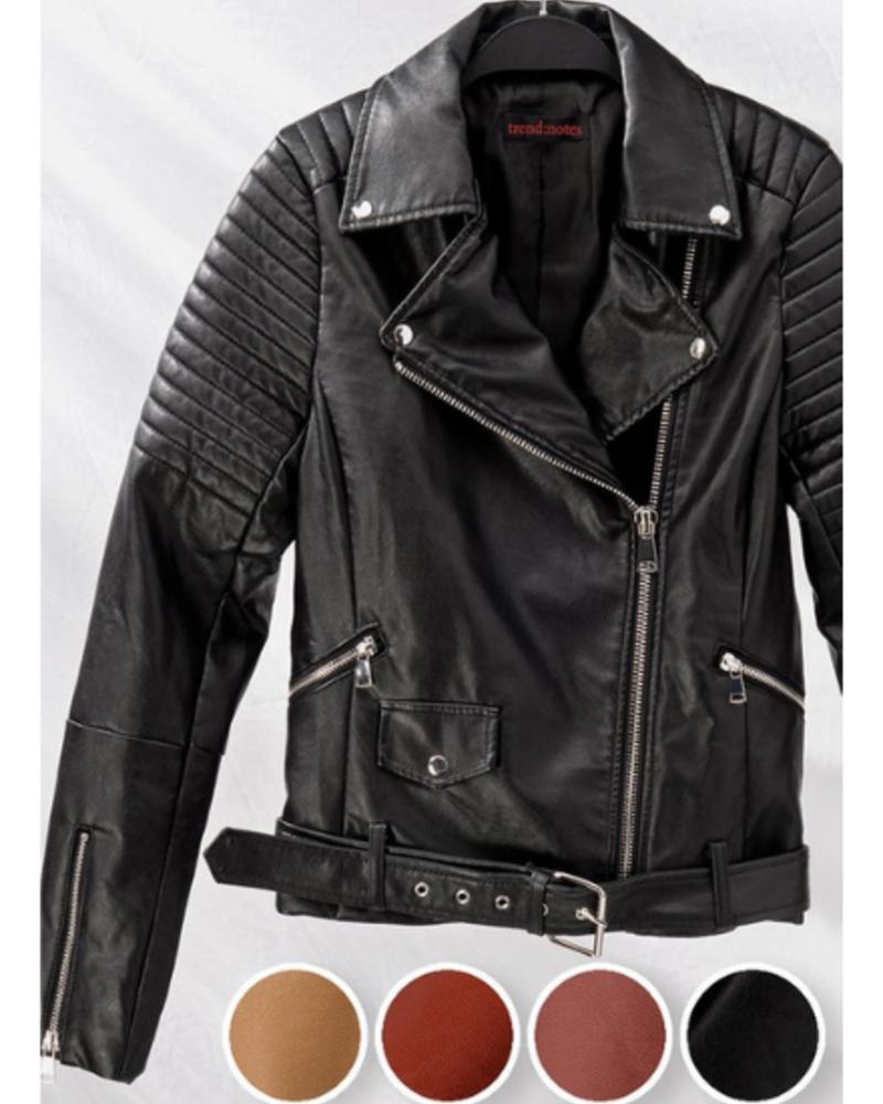 Love Tree Faux Leather Biker Jacket w/Zipper Detail & Belt