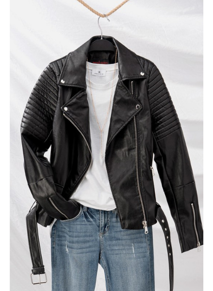 Love Tree Faux Leather Biker Jacket w/Zipper Detail & Belt