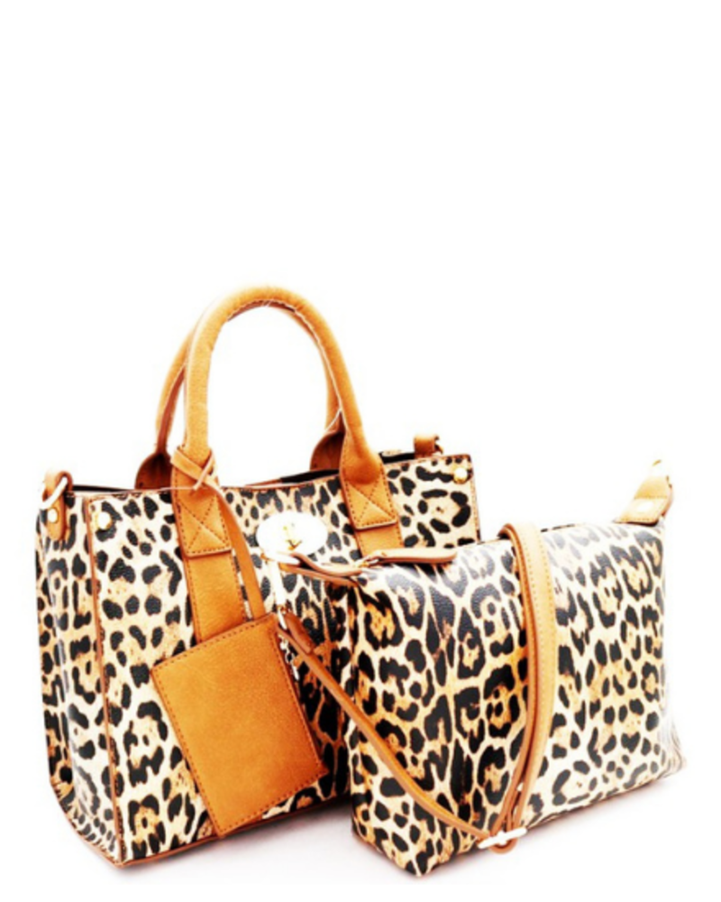 Princess Purse Leopard 3-in-1 Faux Leather Boxy Satchel w/Detachable Shoulder Strap