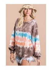 Bucket List Tie Dye Round Neck Sweatshirt w/Kangaroo Pocket