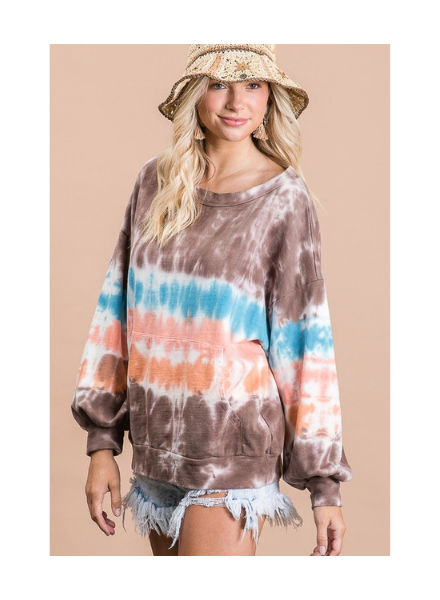 Bucket List Tie Dye Round Neck Sweatshirt w/Kangaroo Pocket