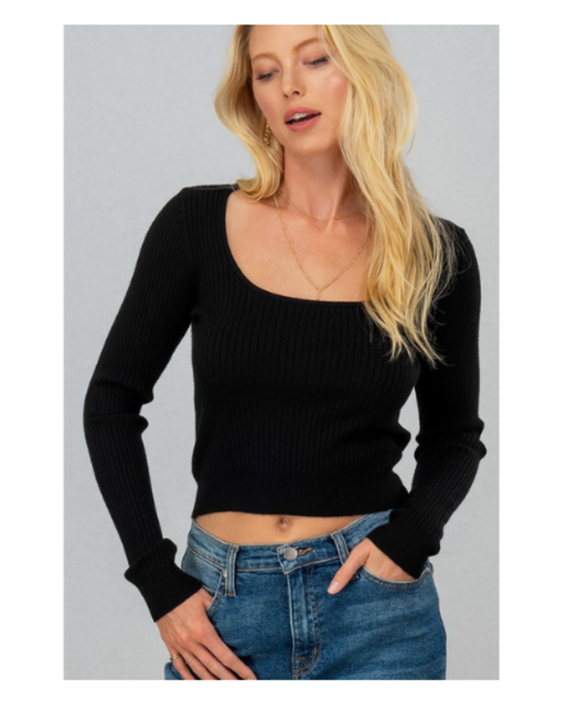 Chic and Cozy Rib Knit Square Neck Crop Sweater
