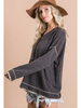 BucketList Long Sleeve Button Detail V-Neck w/Leopard Trim