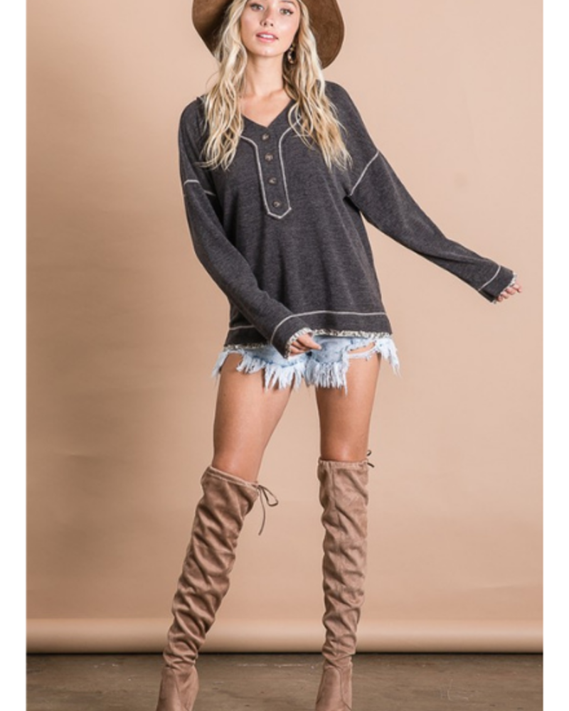 Bucket List Long Sleeve Button Detail V-Neck w/Leopard Trim
