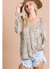 BucketList Snake Print V-Neck Long Sleeve Terry Top