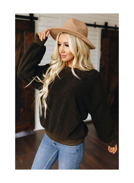 Shiying Fashion Crew Neck Terry Cashmere Sweatshirt