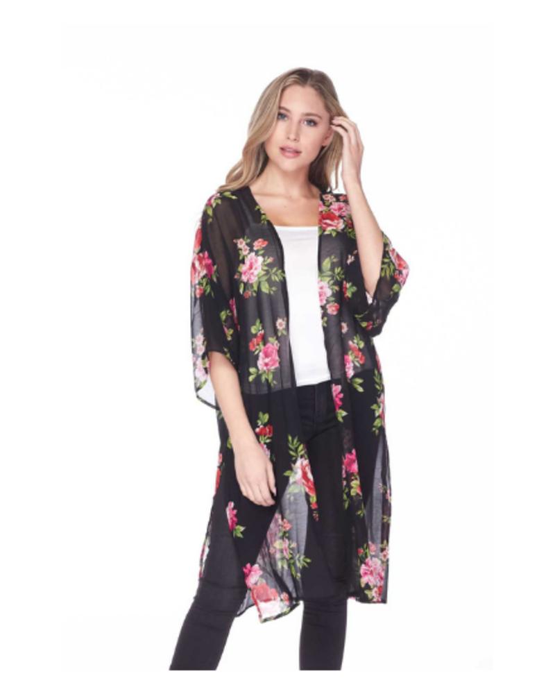 Ambiance Sheer Floral Print Midi Kimono