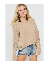 Hers & Mine Round Neck Distressed Sweater