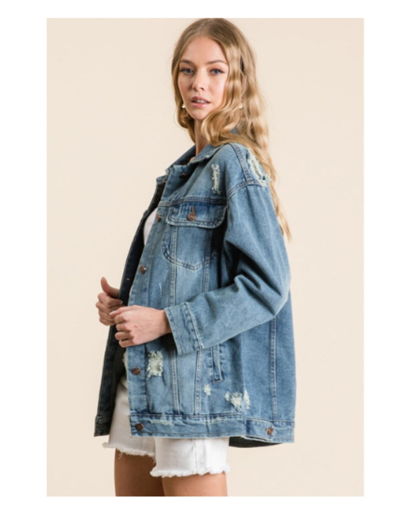 Veveret Distressed Denim Jacket