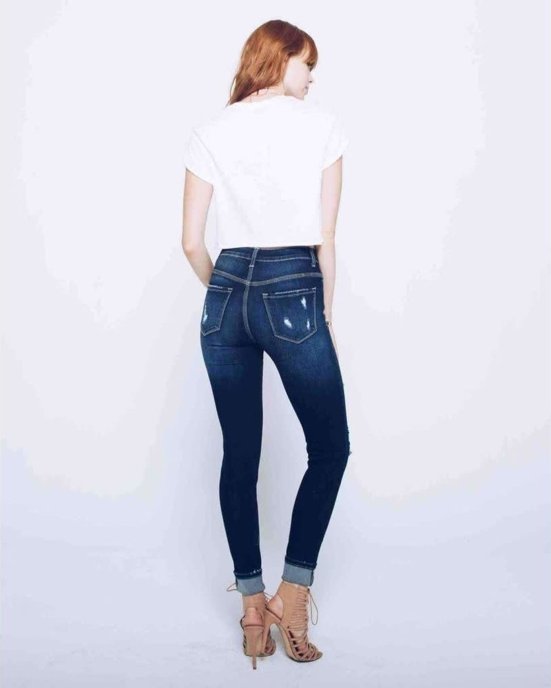 KanCan Gemma High Rise Distressed Ankle Skinny Jean with Cuff