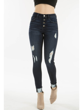 KanCan Distressed Button Down Ankle Skinny