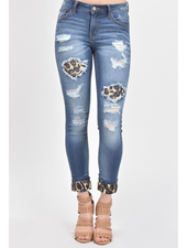 KanCan Mid Rise Leopard Patch Ankle Skinny