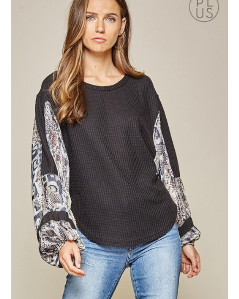 Andree Round Neck Waffle Top w/Snakeskin Balloon Sleeves