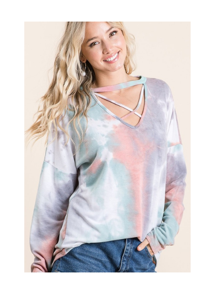 Lovely Melody LS Tie Dye Top w/Cutout Crisscross Neck