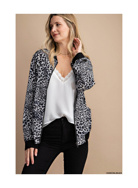 Kori America Leopard Zip-Up Bomber Jacket w/Solid Trim