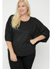 Ribbed Knit Top w/Dolman Sleeves & High-Low Hem