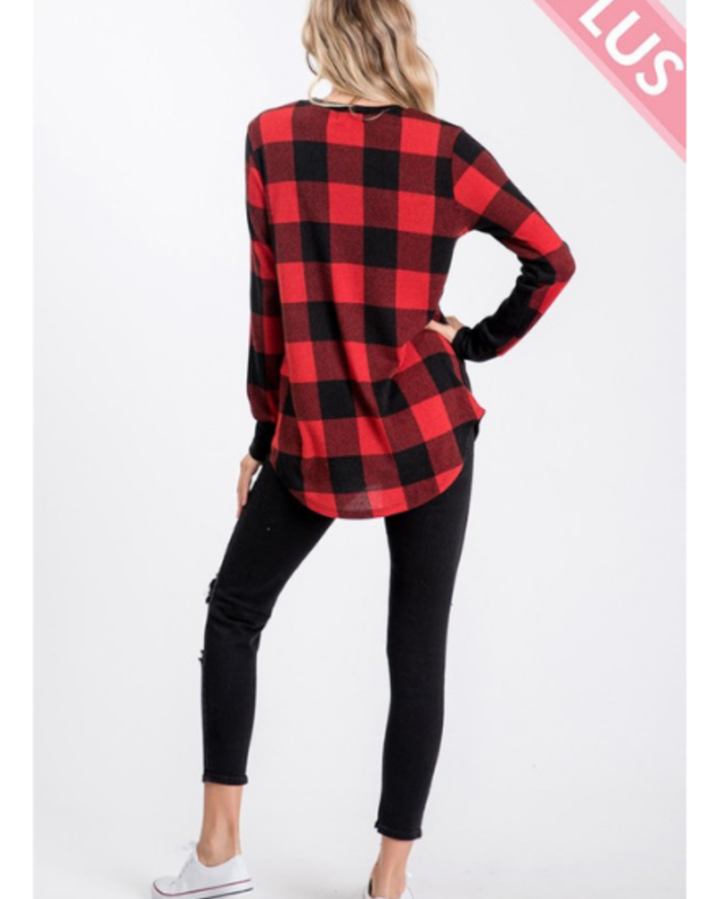Sweet Lovely Plaid Color Block Long Sleeve Top w/Pocket