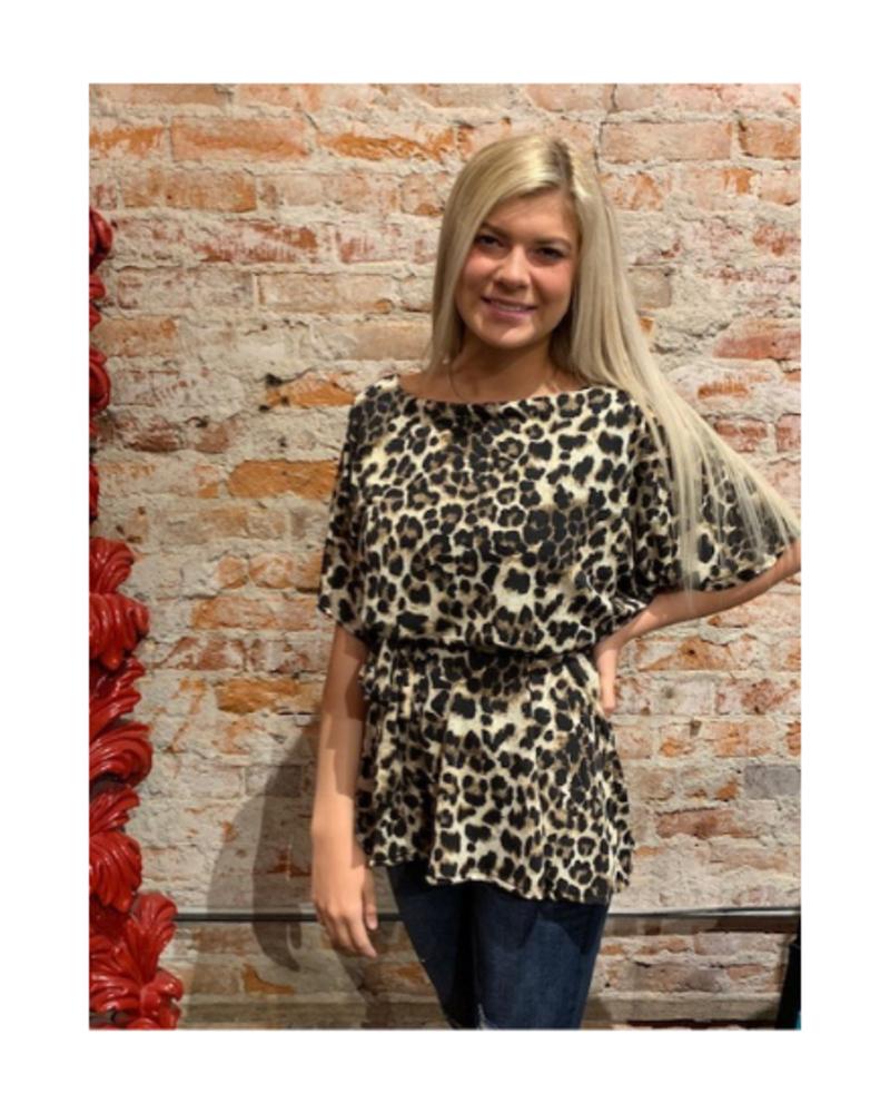 Vine & Love Kimono Sleeve Leopard Top w/Tie Belt