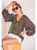 Vine & Love V-Neck Balloon Long Sleeve Sequin Top