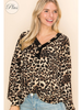 Long Sleeve Leopard Print V-Neck w/Button Detail