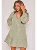 Long Sleeve V-Neck Dot Textured Ruffle Hem Mini Dress